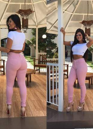 Calça rosa jeans feminina skinny