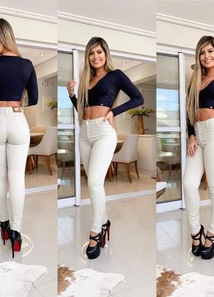 Calça creme jeans skinny feminina com lycra levanta bumbum modeladora