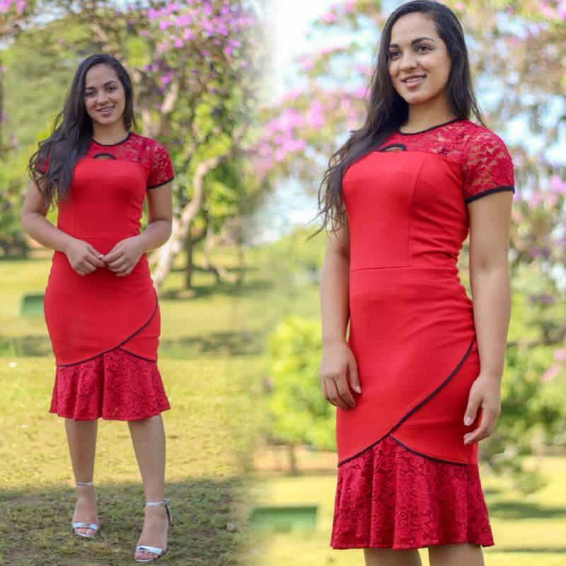 Vestido feminino moda evangélica babado renda