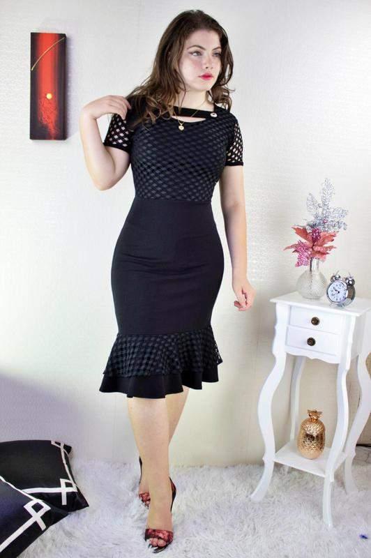 Vestido manguinha acinturado moda evangélica midi preto
