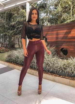 Calça feminina legging cirrê botão skinny