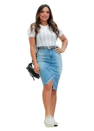 Saia feminina jeans midi destroyed moda evangelica