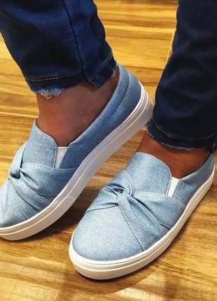 Slip on sapatenis feminino com laço jeans 32 ao 43 várias cores - atacado