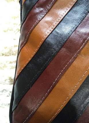 Bolsa em couro legitimo transversal pequena de listra direto do fabricante (ultima peça)