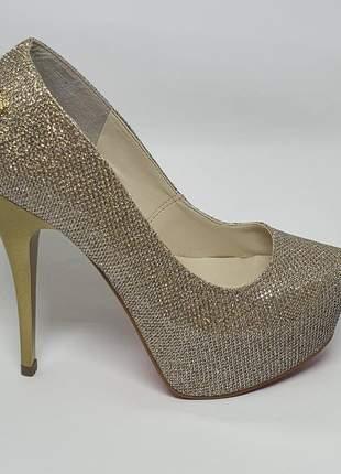 Sapatos femininos scarpins  meia pata gliter
