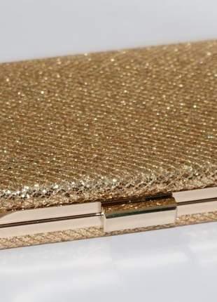 Clutch dourada luxo brilho bolsa de mao festa chique