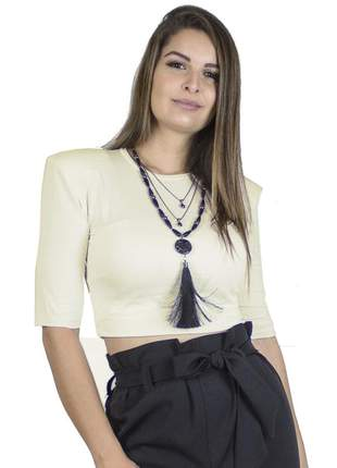 Cropped com ombreiras estilo muscle off white