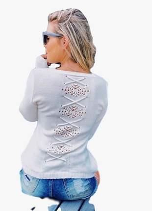 Casaco blusa tricô tricot manga longa com detalhe nas costas moda inverno lançamento