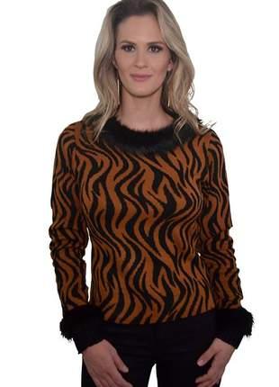 Blusa desenho zebra c/ pele