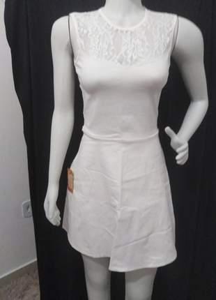 Vestido off white curto casamento civil simples renda cotton