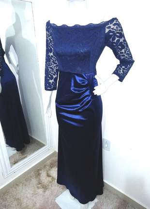 Vestido longo azul marinho ombro a ombro renda festa noite