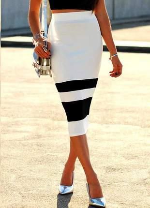 Saia midi feminina preta e branca social elegance