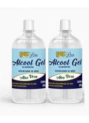 Álcool em gel 70 higienizante p/ mãos unik liss 500ml (2un)