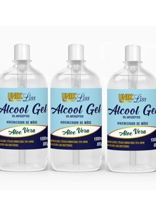 Álcool gel 70% higienizante p/ mãos unik liss 500ml c/ (3un)