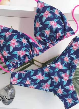 Biquíni cortininha fio duplo – floral azul e pink neon - soulbeach