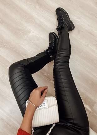 Calça couro eco courino fake e neoprene de cintura alta preta