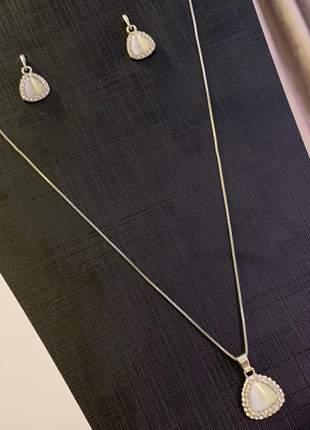 Conjunto colar e brinco cor prata