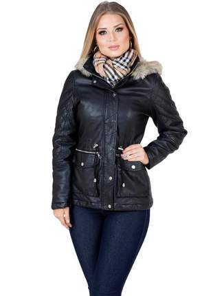 Parka jaqueta feminina plus size de couro vegetal ecológico acinturada