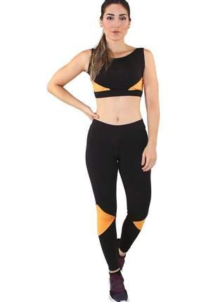 Conjunto fitness cropped com faixas + calça legging preto com amarelo e branco