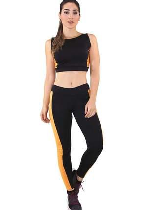 Conjunto fitness cropped mosaico + calça legging preto com amarelo e branco