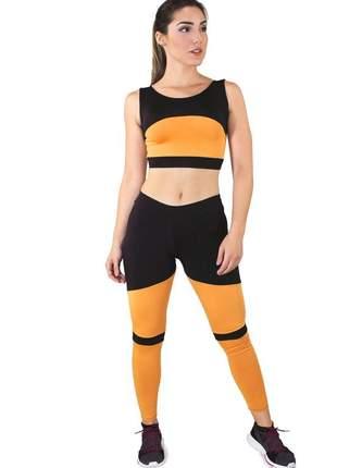 Conjunto fitness cropped + calça legging preto com amarelo