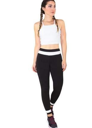 Conjunto fitness cropped branco + calça fitness preto com branco