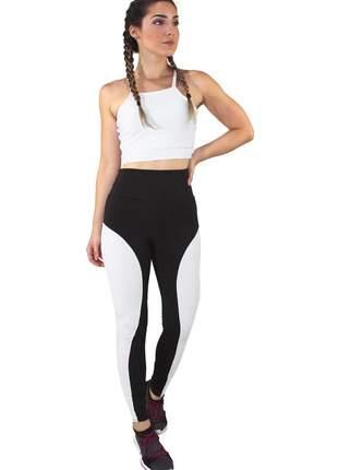 Conjunto fitness academia cropped branco + calça fitness preto com faixa branco