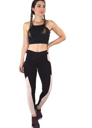 Conjunto fitness academia cropped preto + calça fitness preto com detalhe rosê