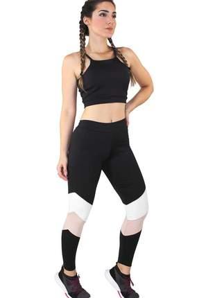Conjunto fitness academia cropped preto + calça fitness preto com faixas rosê e branco