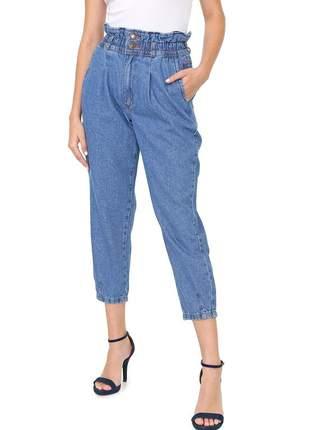 Calça slouchy com elástico jeans