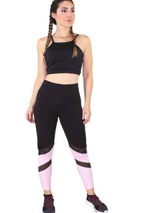 Conjunto fitness academia cropped preto + calça fitness preto com detalhe elástico faixa