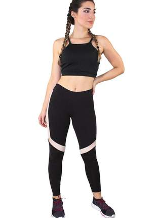Conjunto fitness cropped preto + calça fitness preto com faixas branca e rosê