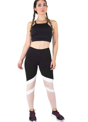 Conjunto fitness cropped rosê + calça fitness preto com detalhe rosê