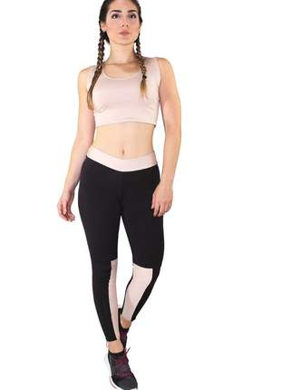 Conjunto fitness cropped preto faixa rosê + calça fitness preto com faixa rosê