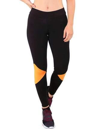 Calça legging fitness preto + traingulos amarelo