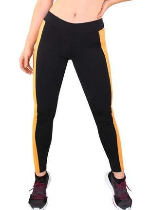 Calça legging fitness preto com faixa amarelo