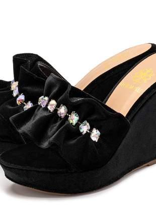 Sandália tamanco franzido veludo preto com strass