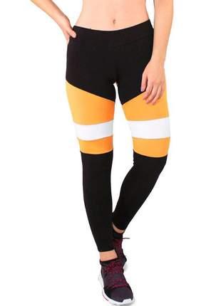 Calça legging fitness preto detalhe amarelo e branco