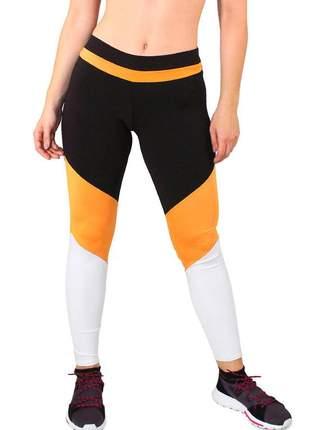 Calça legging fitness preto listra amarelo detalhes amarelo e branco