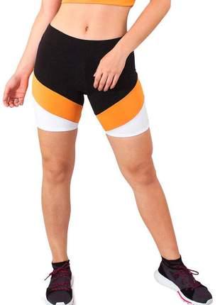 Short fitness preto detalhe amarelo e branco