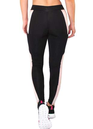 Calça legging fitness preto com detalhe chocolate