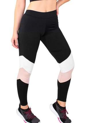 Calça legging fitness preto com detalhes chocolate e branco