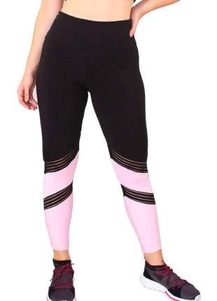 Calça legging fitness preta detalhe preto com rosê