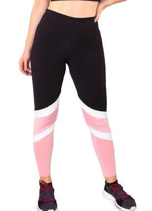Calça legging fitness preto com detalhes branco e rosê