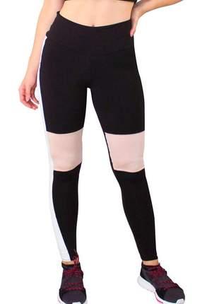 Calça legging fitness preto com detalhe chocolate e branco