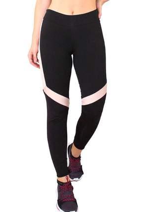 Calça legging fitness preto detalhe branco com chocolate