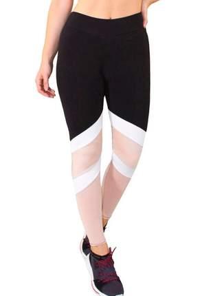 Calça legging fitness preto com faixas branco e chocolate