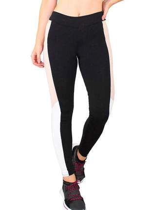 Calça legging fitness preto listra chocolate