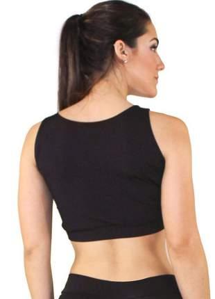 Top cropped fitness preto abstrato detalhes branco e amarelo