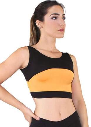 Cropped fitness preto com detalhe amarelo